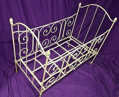 19th Century French Wrought Iron Baby Crib Decorative Victorian Metal Child Cot