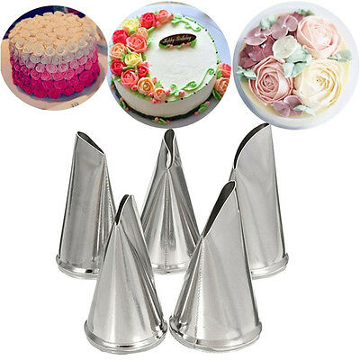 5 Pcs/Set Flower Rose Icing Piping Nozzles Cream Petal Pastry Cake Decorate Tips