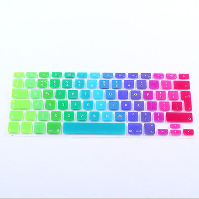 """Rainbow Silicone Keyboard Skin Case Cover Film For MacBook Air Pro 13"""" 15"""" 17"""""""
