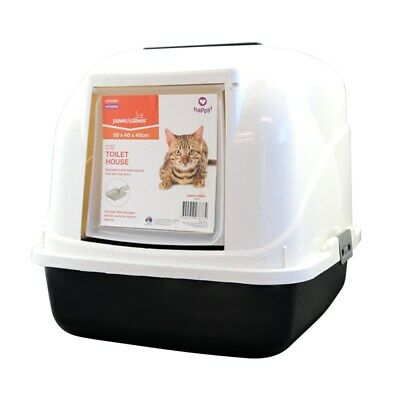 Hooded Cat House Litter Tray Pan Set Pet Kitten Toilet Box Scoop Paws n Claws FW