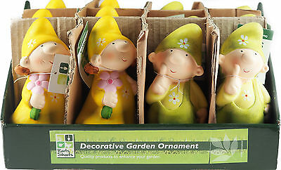Set Of 12 Lime Yellow Child Gnome Ornaments Figurines Home / Garden Display