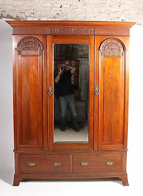 Good Late C19th Antique Victorian Walnut Double Wardrobe By Harrods Of London