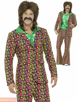 Mens 60s 70s Psychedelic CND Suit Adults Hippie Fancy Dress Costume Hippy Outfit