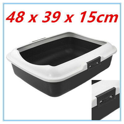 Cat Litter Tray w/Rim Pet Kitten toilet Training Hooded House Pan Paws n Claws D