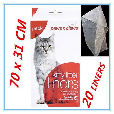 20 X Cat Kitty Litter Liners Scented Bags Liner White PAWS N CLAWS BULK BUY FD