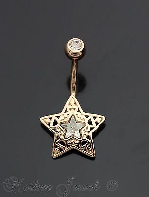 14K Rose Gold Triple Plated Filigree Star Simulated Diamond Belly Navel Ring
