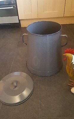 Medium grey enamel vintage storage distressed  industrial bread bin olive pot