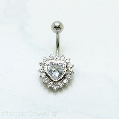 14G Silver Surgical Steel Simulated Diamond Heart Belly Button Navel Ring