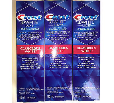 3 x CREST 3D WHITE GLAMOROUS LUXE TEETH WHITENING TOOTHPASTE BIG TUBE 5oz. 120ml