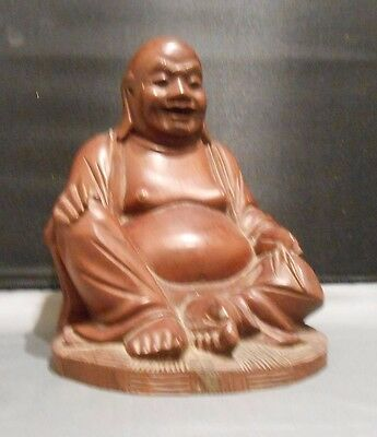 Vintage Asian Hand Carved Wood Laughing Buddha Hotei