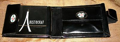 Vintage Women's Aristocrat Black Cowhide Leather Wallet with Flowers 50's-60's