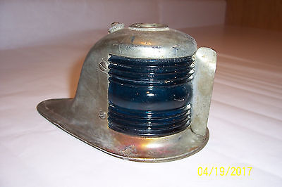 """Vintage """"Perko"""" Boat Red & Blue Glass Front Lamp"""