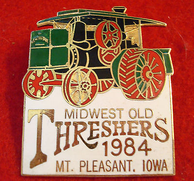 1984 Midwest Old Threshers Reunion Mt Pleasant Iowa Pin Back New Huber Traction