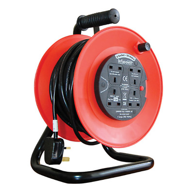 Brand New Infapower 4 Socket 25 Metre Extention Cable Plug Reel - Red/black