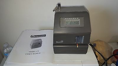Acroprint 175 electronic digital time clock stamp punch recorder w/ key