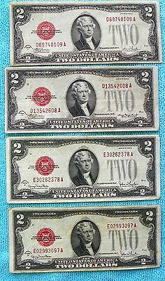 1928 D, F & G's (4)-Notes $2 Red Seal US Note Two Dollar Bill - Lot #7