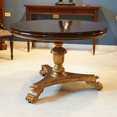 """High end 44"""" round Mahogany Pedestal Dining Centre Table espresso and Gold Leaf"""