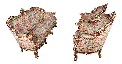 1920s French Louis XVI Style Carved Gold Gilt Three-Piece Parlor Set