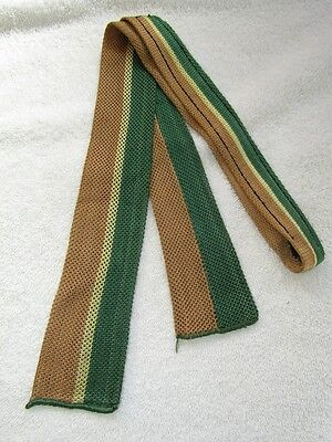 VINTAGE 1940s SQUARE END STRIPE GREEN AND BROWN KNIT NECK TIE