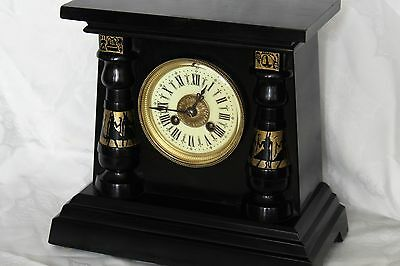 Antique french marble Egyptian revival mantle clock