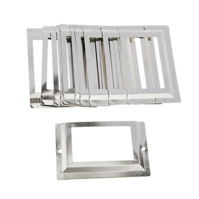 10pcs Drawer Cabinet Frame Label Tag Pull Handle Name Card Holder Silver
