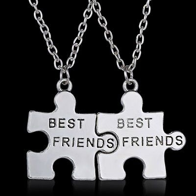 """Fashion Jewelry """"best friend"""" Engraved Pendant Silver Plated Necklace Chain Gift"""