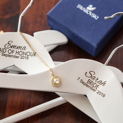 Personalised Engraved White Wedding Coat Hangers Bridesmaid Gift