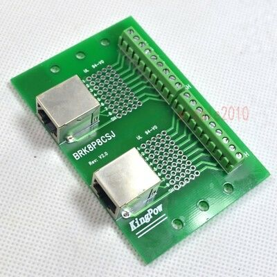 Double RJ45 8P8C Ethernet Interface to Terminal Block Connector, Breakout Board
