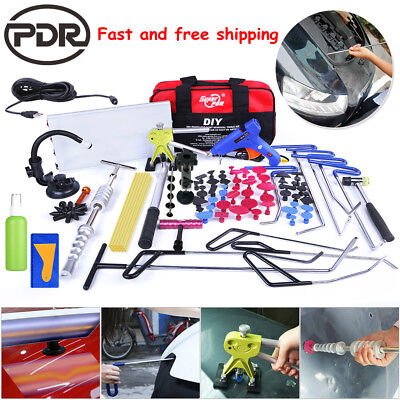 Paintless Dent Removal PDR Tools Push Rods Hail Puller Lifter LED Light Repair