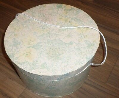 Vintage Cardboard HAT BOX Round W/ Nylon Handle Green & Yellow Flowers Floral