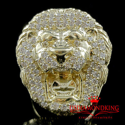 6.2 Grams 10K Yellow Gold Men's Roaring Lion Head Ring Band Size 8 New