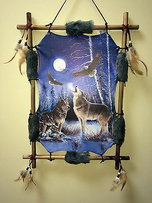 Indian Picture Wolf Eagle Dream Catcher Mandella 16x22 Beads Feathers Frame
