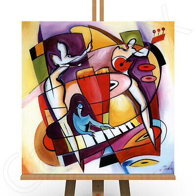 Abstract Canvas Large Framed Box Print Picture Piano Sax Jazz Music Wall Art