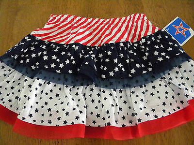 Girls Size 2T Red/White/Blue Layered Stars and Stripes Skort