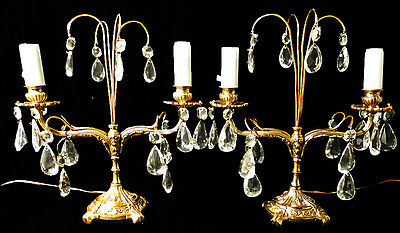 Antique french Louis style bronze and cristal pair of table lamps candelabra