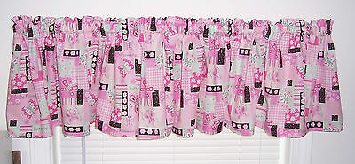 Set of 2 Pink Sparkle Butterfly Flowers Baby Girl Nursey Room Curtain Valance