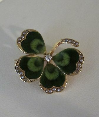 Antique Art Nouveau Guilloche Enamel Diamond Four Leaf Clover Pin 14K  Gold