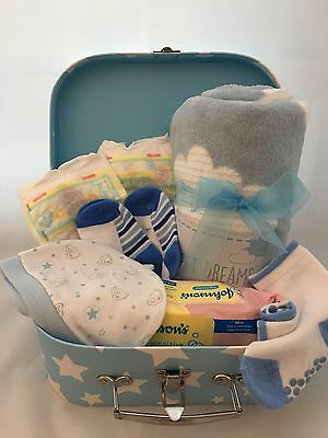 New Baby Boys Hospital Essentials Hamper Packed Case