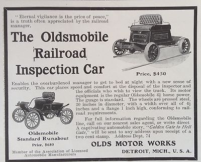 Antique 1904 Ad(F10)~The Oldsmobile Railroad Inspection Car