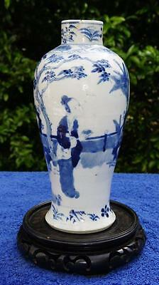 Good Chinese Blue & White Figural Decorated Vase, Four Character Kangxi Mark