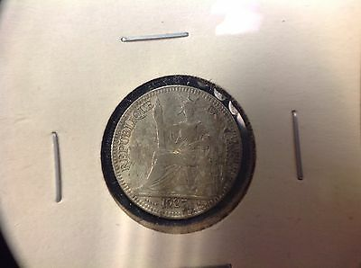 French Indo Chine China 1927 1 Piastre Vietnam Silver Coin