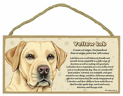 Yellow Labrador Facts about the Yellow Lab Wood Dog Sign Plaque Made in USA