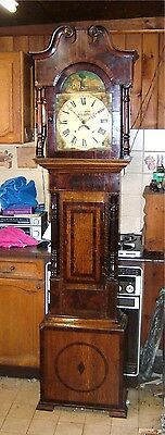 Original Antique Oak & Mahogany Longcase Grandfather Clock C1830-50