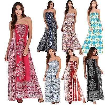 UK Ladies Dress Floral Long Sleeveless Maxi Boho Bandeau Cotton Beach Summer