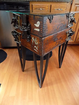 Antique Industrial Wooden Foundry Flask Glass Top Display Lamp / End Table