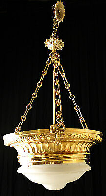 Antique french bronze & glass chandelier Original carved glass center tulip
