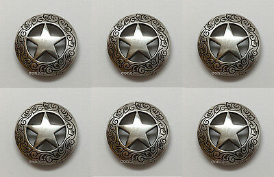 "Set of 6 WESTERN HORSE SADDLE TACK  1-1/8"" ANTIQUE STAR CONCHOS screw back"