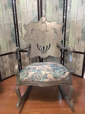 Antique Rocking Chair Carved Wide Back Upholstered Very Unusual