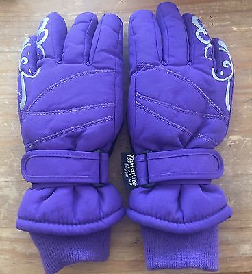 Jr Ski Gloves Size youth 80 gram Thinsulate Excellent Purple size 4-7