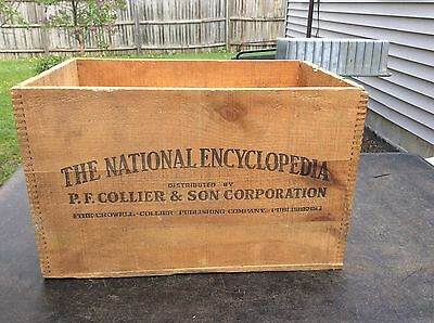 Antique The National Encyclopedia Wood Crate Box